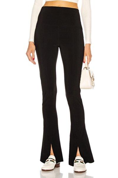 Kadın Siyah Yırtmaçlı Yüksek Bel Pantolon