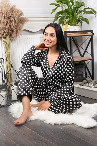 Kadın Siyah Puantiyeli Ikili Saten Pijama Takımı Nb7209