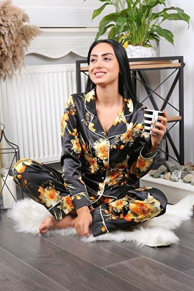 Kadın Siyah Ikili Çiçek Desenli Saten Pijama Takımı Nb7211