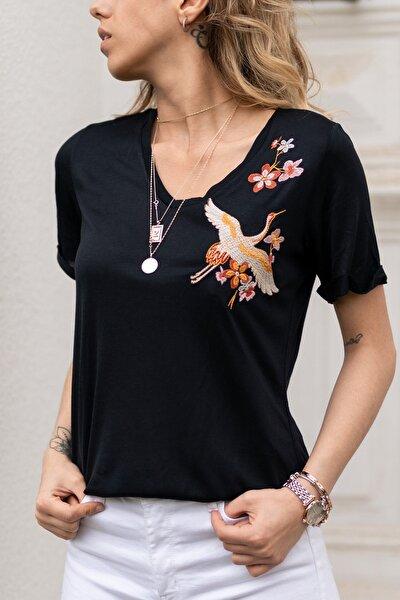 Kadın Siyah Nakış Detaylı Bluz 0yxk2-43351-02