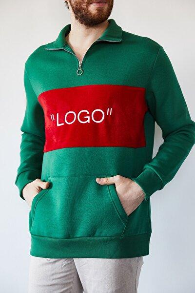 Erkek Yeşil Nakışlı Üç İplik Sweatshirt 1kxe8-44231-08