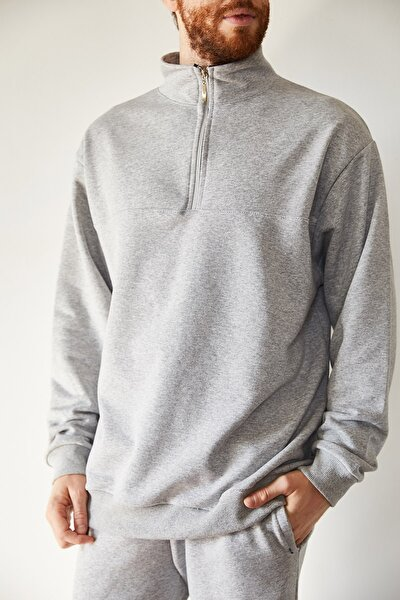 Erkek Gri Yakası Fermuarlı Sweatshirt 1kxe8-44224-03