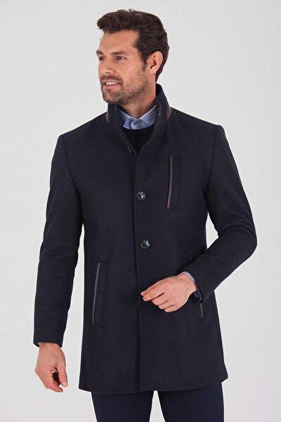 Erkek Lacivert Hakim Yaka Yünlü Palto