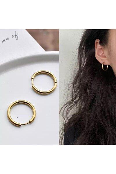 Kadın Gold Renk 1.5cm Cerrahi Çelik Halka Küpe