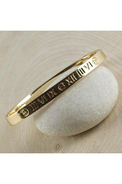 Kadın Altın Roma Rakamlı Cartier Model Kelepçe