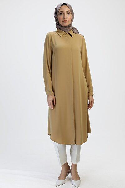 Kadın Safran Gömlek Yaka, Düğmeli Tesettür Tunik