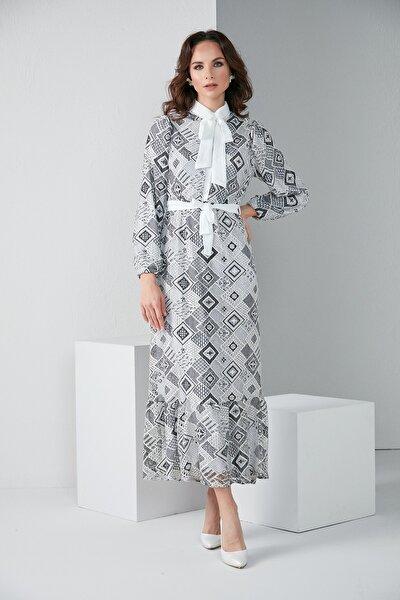 Kadın Dantel Elbise Kol Lastikli Kuşaklı  C 3003