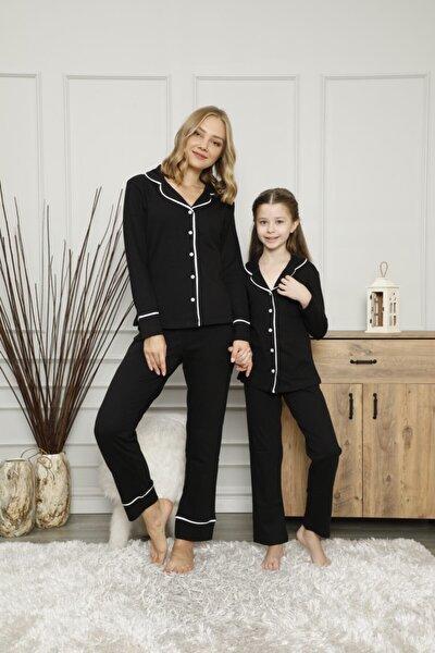Anne Kız Pijama Takımı Kombini Interlok Kumaş