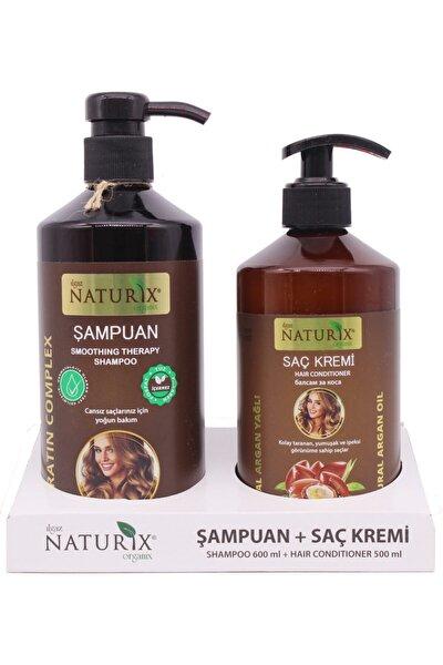 2'li 600 ml Doğal Keratin Bakım Şampuan   500 ml Argan Yağlı Saç Kremi