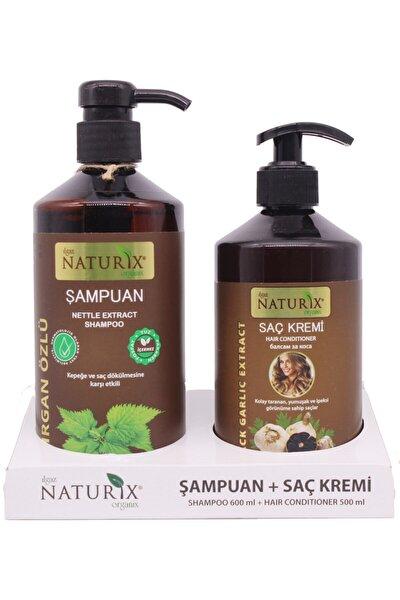2'li Doğal Isırgan Isırgan Otu Şampuanı 600 ml Saç Bakım Şampuanı 500 ml Siyah Sarımsak Saç Kremi