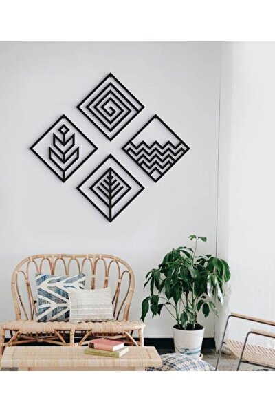 4 Element 4'lü Dekoratif Ahşap Modern Duvar Tablosu