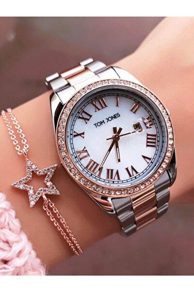 Kadın Gümüş Taşlı Takvimli Saat