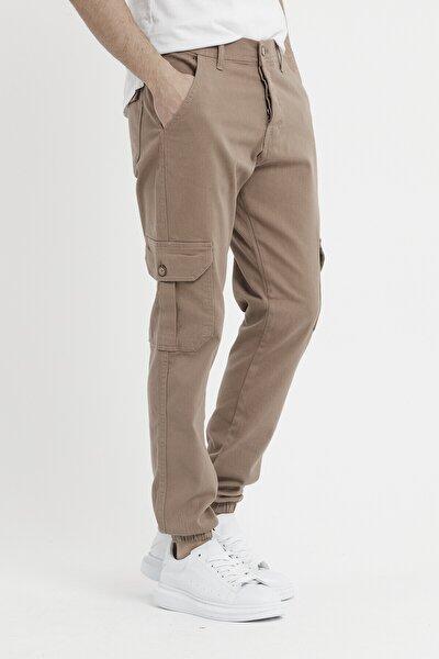 Erkek Riklalı Paçası Lastikli Kargo Cep Pantolon Camel