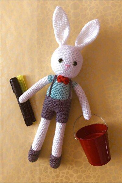 Organik Oyuncak Amigurumi Örgü Sevimli Beyaz Tavşan