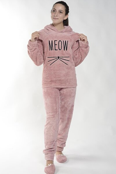 Kadın Pembe Meow Desenli Tam Peluş Pijama Takımı