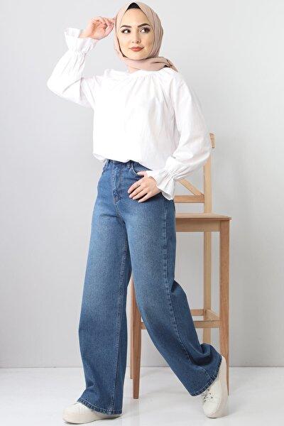 Kadın Açık Mavi Bol Paça Kot Pantolon Tsd22007