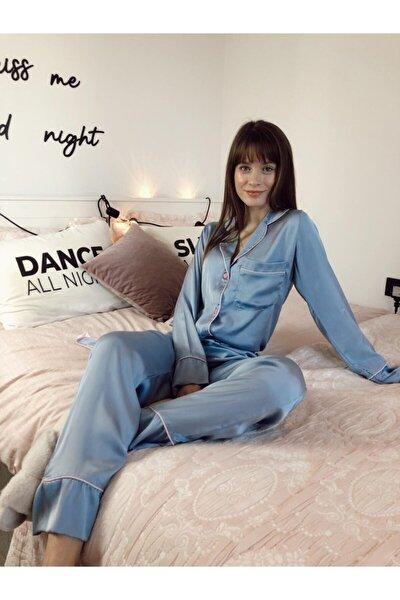 Kadın Indigo Saten Uzun Kollu Pijama Takımı