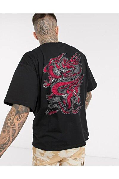 Unisex Siyah Chinesebox Oversize Tshirt
