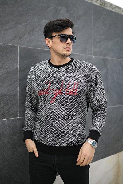 Erkek Örme Nakışlı Zigzag Desenli Siyah Sweatshirt - 57242