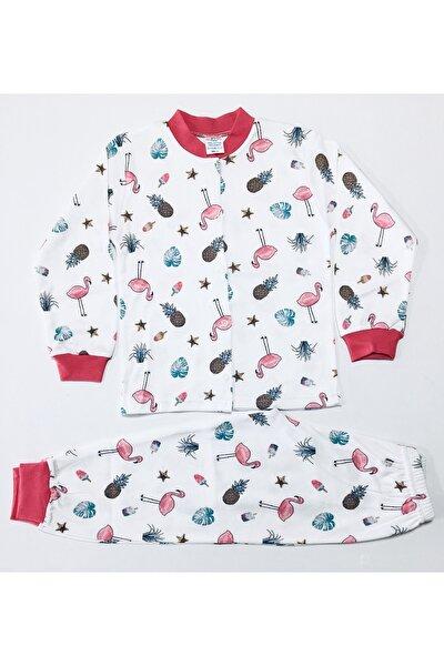 Kız Bebek Pembe Çıtçıtlı  Desenli Pijama Takımı