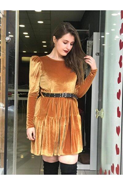 Kadın Hardal Kemer Detaylı Kadife Elbise