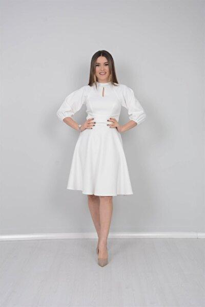 Kadın Beyaz Kumaş Kemer Dataylı Elbise
