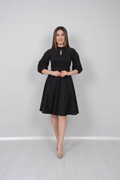 Kadın Siyah Scuba Kumaş Kemer Dataylı Elbise