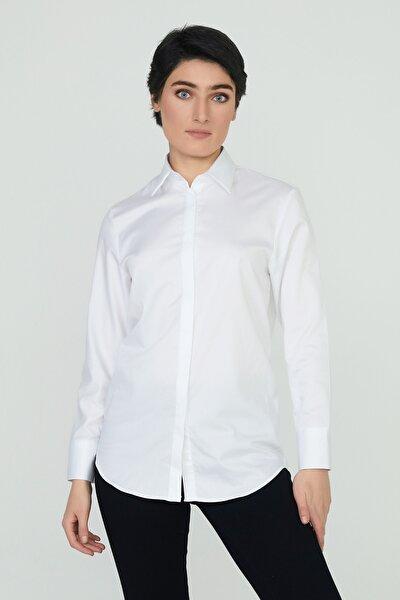 %100 Pamuk Saten Beyaz Klasik Kesim Kadın Gömlek Celıne