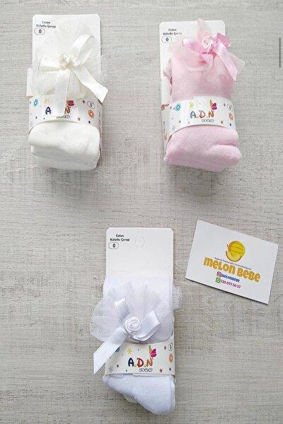Fiyonklu Pembe Renk Bebek Külotlu Çorap