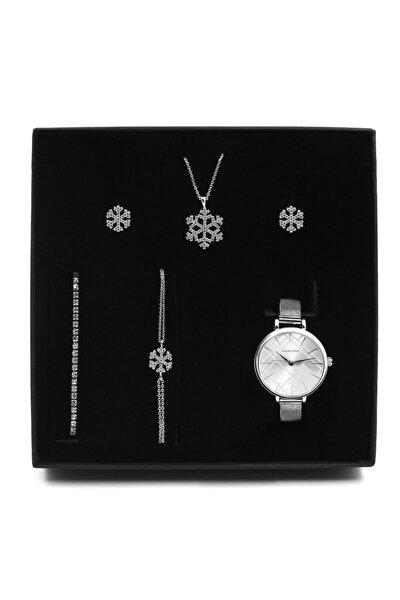 Gümüş Kaplama Kar Tanesi Kolye & Küpe & 2'li Bileklik & Saat Hediye Seti