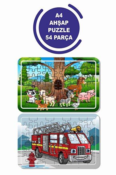 2'li Set 54 Parça Ahşap Puzzle Sevimli Hayvanlar Ve Itfaiye Aracı Çocuklar Için