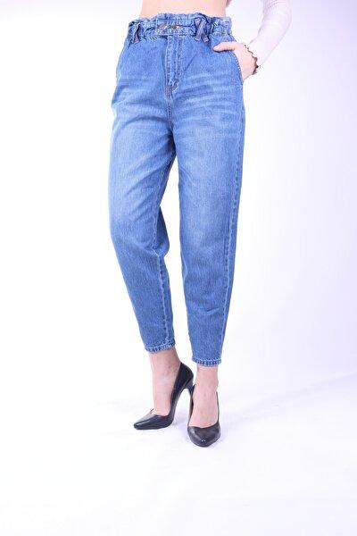 Kadın Bellastik Yüksek Bel Mom Jeans Kadın Pantolon