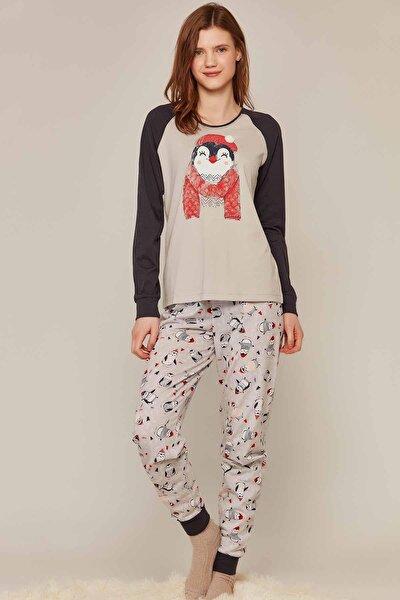 Kadın Gri Penguen Baskılı Reglan Kollu Pijama Takımı -P-137-8020784624