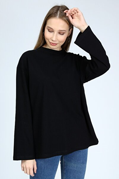 Kadın Kumaş Siyah Uzun Kollu Bisiklet Yaka Basic Oversize Tshirt