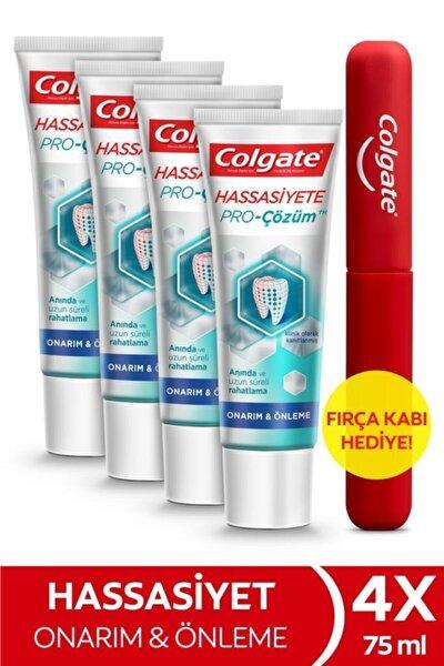 Hassasiyete Pro Çözüm Onarım ve Önleme Diş Macunu 75 ml x 4 Adet + Fırça Kabı Hediye