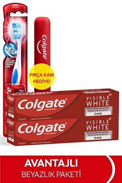 Visible White Maksimum Beyazlık Diş Macunu 75 ml x 2 Adet + Fırça Kabı Hediye