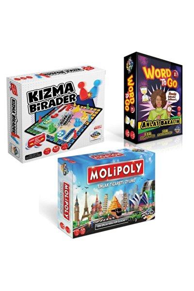 Süper 3'lü Set Molipoly Emlak Ticaret Oyunu + Kızma Birader+ Word To Go Xl Tabu Xl Edition
