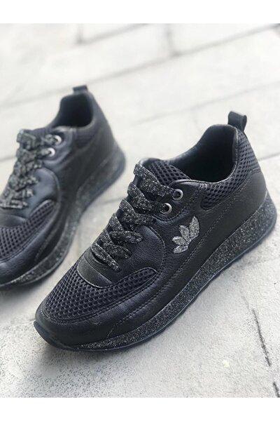 Kadın  Siyah File Sneaker