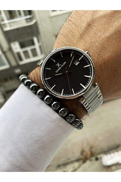 Gümüş Renk Kordon Siyah Kadran Küçük Kasa Metal Kordon Erkek Kol Saati + Bileklik Hediyeli
