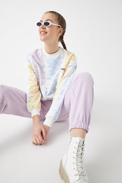 Kadın Lila Desenli Sweatshirt 1KAL68376IK