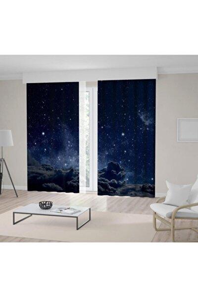 Gri Bulut Gece Gökyüzü Desenli Fon Perde