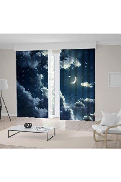 Mavi Bulut Gece Işıltılı Ay Gökyüzü Desenli Fon Perde
