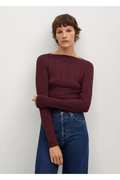Kadın Mor Fitilli Tişört