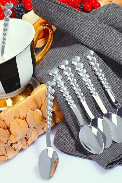 6 Adet Kalp Model Paslanmaz Çelik Çay Kaşığı Seti