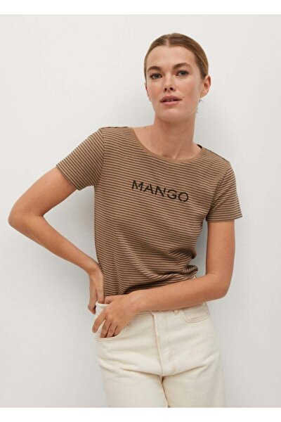 Kadın Kahverengi Organik Pamuklu Logolu Tişört