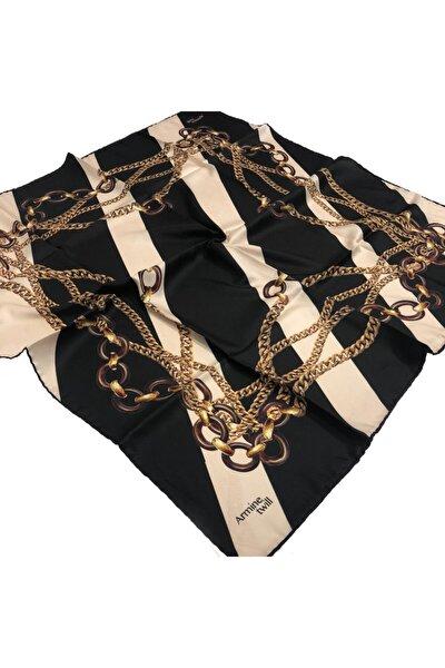 Twill (TİVİL) Nostalji Gold Zincir Desen Eşarp-siyah-krem-gold