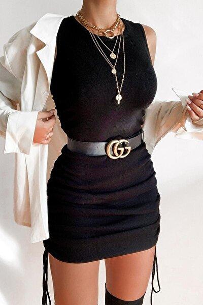 1495 Boyu Ayarlanabilir Yanları Büzgülü Siyah Fitilli Kısa Kollu Elbise