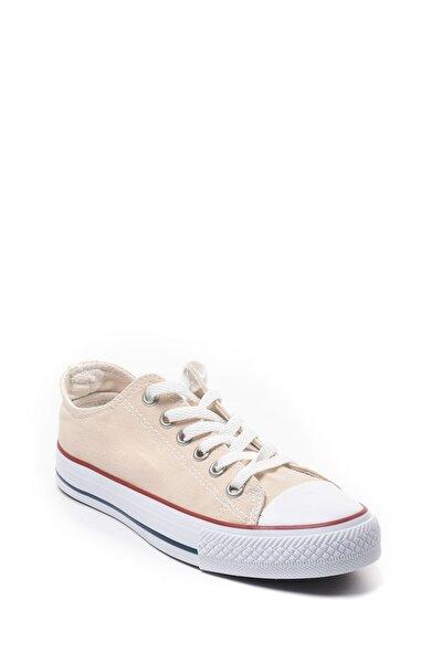 Kadın Bej Keten Sneaker Günlük Spor Ayakkabı 22090