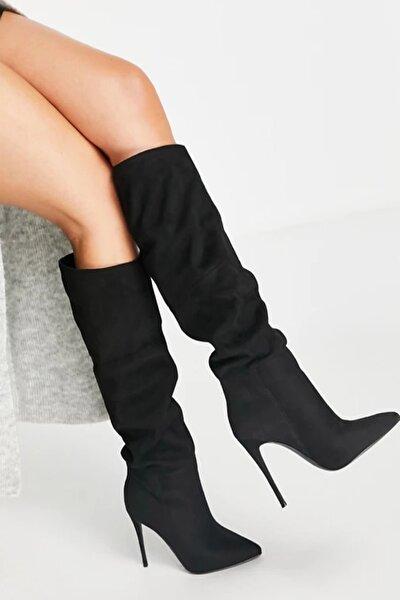 Kadın Siyah 10cm Topuklu Süet Çizme