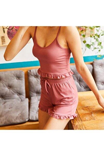 Kadın Gül Kurusu Askılı Pijama Takımı